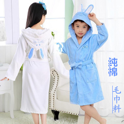Children cotton bathrobe towel thick cotton bathrobes baby Pajamas in autumn  and winter swimming bat 753ca6ffb