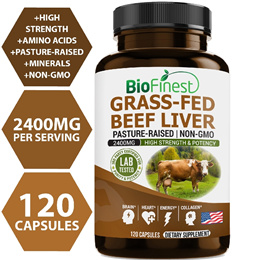 Biofinest Grass-Fed Beef Liver - Pure Pasture-Raised Cattle (120 capsules)