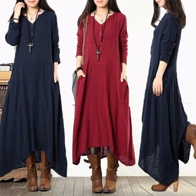 35646c6b160562 Qoo10 - zanzea womens plus size long sleeve cotton vintage kaftan loose  maxi dress Search Results   (Q·Ranking): Items now on sale at qoo10.sg