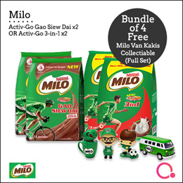 [Nestle]Milo Activ-Go GSD /ActivGo 3in1 18 X 27g Buy 4 Packs and get Kaki Collectible Full Set FREE!