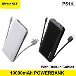 Awei P51K 10000mAh Power Bank Mini Portable Battery Charger USB Charging Built in Cable Powerbank