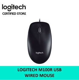 Logitech M100R USB Wired Mouse Black 3 Years Local Warranty 910-005005