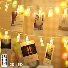 20 LED Photo Clips String Lights Remote Control Fairy String Lights with Clips for Hanging Pictures