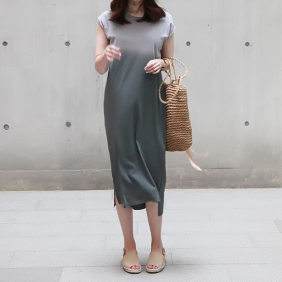 ポンジェイグラデーションシェイクワンピース 綿ワンピース/ 韓国ファッション