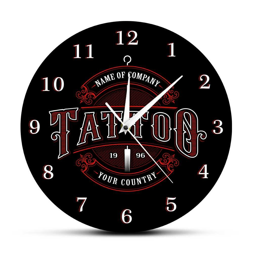 Qoo10 Tattoo Time Custom Wall Clock Ink Shop Tattoos Gun Artist Gift Body Ar Furniture Deco
