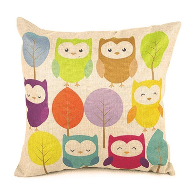 Hand-painted Printing Cute Cartoon Owls and Trees Polyester Linen Square Shaped Decorative Pillow Co
