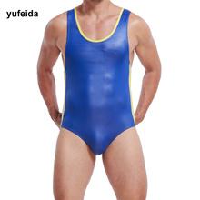 2135b3bff2 Quick View Window OpenWishAdd to Cart. rate 0. authentic YUFEIDA Men Faux  Leather Jumpsuit Underwear Singlet Bodysuit Jockstrap Wrestling Sleeveles
