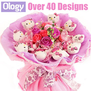 Eternal Flower Bouquet Teddy Bear Hello Kitty Bunny Stitch Doraemon Valentines Day Gift Idea