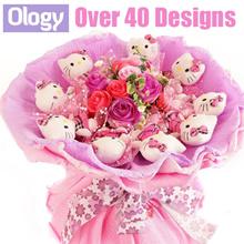 Eternal Flower Bouquet Teddy Bear Hello Kitty Bunny Stitch Doraemon Valentines Day Gift Idea