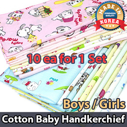 10pcs 1Set / 100% Pure Cotton Baby Handkerchief Gauze Hanky Hand Towel 36 x 36cm
