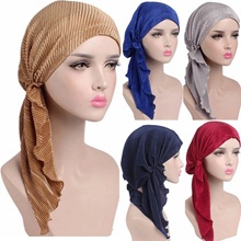 Solid Color Women Islamic Ruffle Headscarf Muslim Stretchy Turban Ruffle Hijab Cap Cotton Bonnet Hea