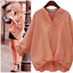 [No Option Price] European Style Lady Women Loose Large Size Shirt Cotton