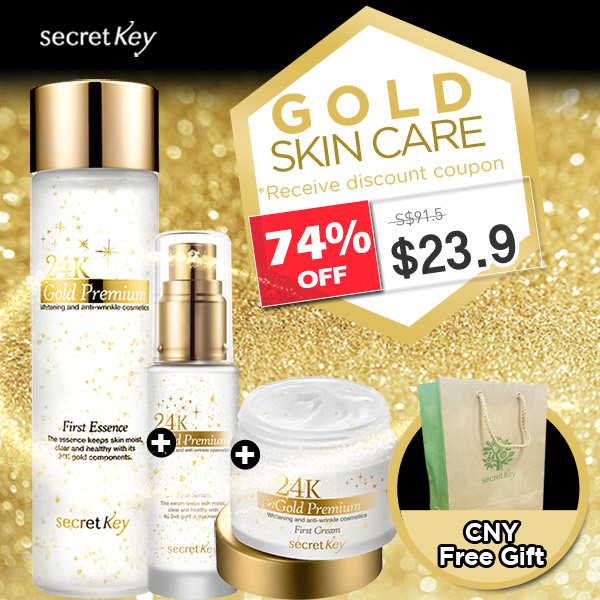 ?Secret Key HQPaper bag for FREE?Lowest price ever?24K GOLD LIMITED SET?Essence+Cream Deals for only S$91.5 instead of S$0