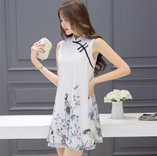 Improvement cheongsam   female  long section  summer dress sleeveless cheongsam collar  embroidery