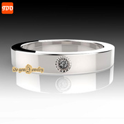 GENUINE DIAMOND 0.05CARAT SILVER RING INCLUDED CERTIFICATE WITH PURCHASE  WIDTH 3.2mm Grad AAA//mm 1pcs