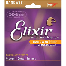ELIXIR NANOWEB ACOUSTIC PHOSPHOR BRONZE GUITAR STRINGS