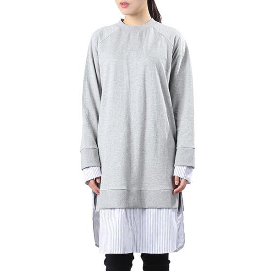 ラブLAPシャツ配色ロングワンピースDNAG4COA80 シフォン/レース/フリル/ 韓国ファッション