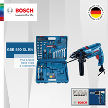 [Official E-Store] Qoo10 Exclusive| Bosch GSB 550 XL Impact Drill Set (122 hand tools and acc.)