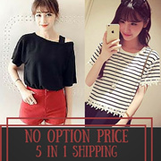 No Option Price! 5 in 1 SHIPPING ~ *NEW 090717 Updated* Korea Fashion Ladies Top in Multi Design