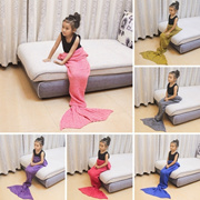 Cute Mermaid Tail Blankets Cotton Pure Color Knitting Air Conditioning Blanket Children Warm Soft Co