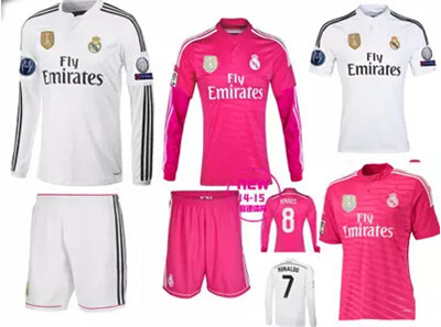 detailed pictures c484e d0017 Real Madrid jersey 14-15 Real Madrid home long-sleeved long-sleeved pink  shirt of Real Madrid in the Champions League Real Madrid C Falkenhausen ...