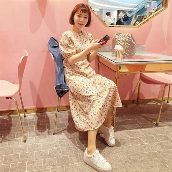 素であるのアニカパフ小売フラワーロングワンピースnewsrcLangTypeko プリントワンピース/ワンピース/韓国ファッション