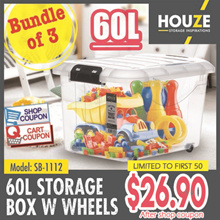Bundle Of 3 ♦ Storage Boxes Collection ♦ 30L  - 60L Capacity ♦ Strong And Durable ♦ 100% Virgin PP