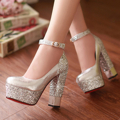 a500114418d Gold bridesmaid shoes Bridal Shoes, wedding shoes white thick girls shoes  strappy platform high heel