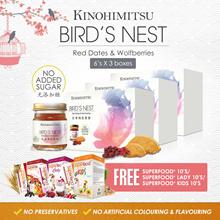 [Bundle of 3] Kinohimitsu BIRD NEST w Red Dates Wolfberries bottle 6sx3 -High Quality No Added Sugar