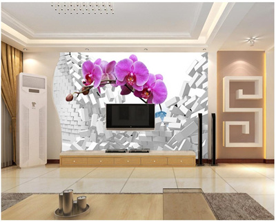 Custom 3d Photo Wallpaper 3d Wall Murals Wallpaper 3 D Dream Butterfly Orchid Tv Setting Wall Paper