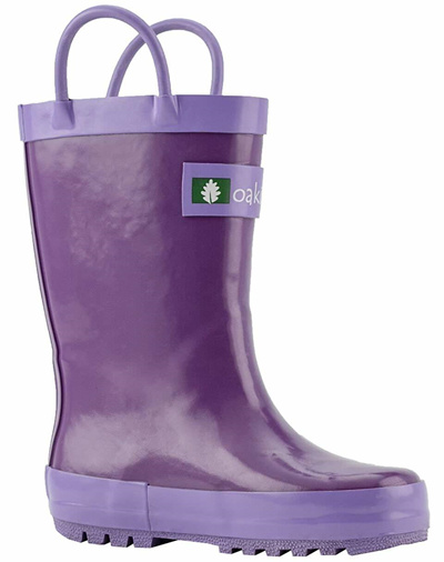 f0a6cb6c75fc6 OAKI Kids Waterproof Rubber Rain Boots Easy-On Handles