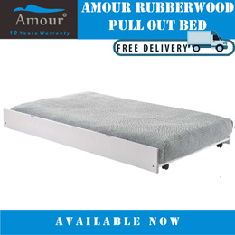 AMOUR® SINGLE SIZE PULL OUT BED/ TRUNDLE BED / GUEST BED (FREE DELIVERY)(10 YEARS WARRANTY)