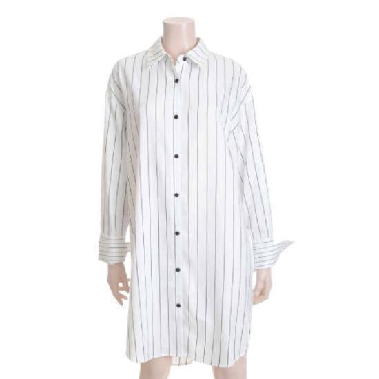 ラブLAP・ストライプのシャツ型ワンピースDNAG4WOA64 シフォン/レース/フリル/ 韓国ファッション