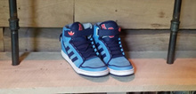 Addidas Hightop Mens Shoes Size 9 Blue Strap Hook Loop