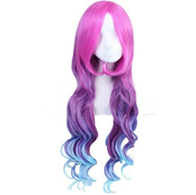 Women Wig Anime League of Legends LOL Miss Fortune Cosplay Wig Three Colors Pink Purple Blue Colorfu