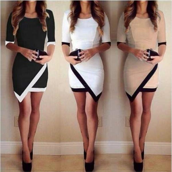 レディースファッション半袖レディース非対称カジュアルドレスホワイト&ブラックパッチワークエレガントなドレスBod