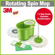 [+] 3M SCOTCH BRITE Double Bucket Spin Mop + 2 Spin Mop Heads + 2 Mop Pads ★ Interchangeable Head