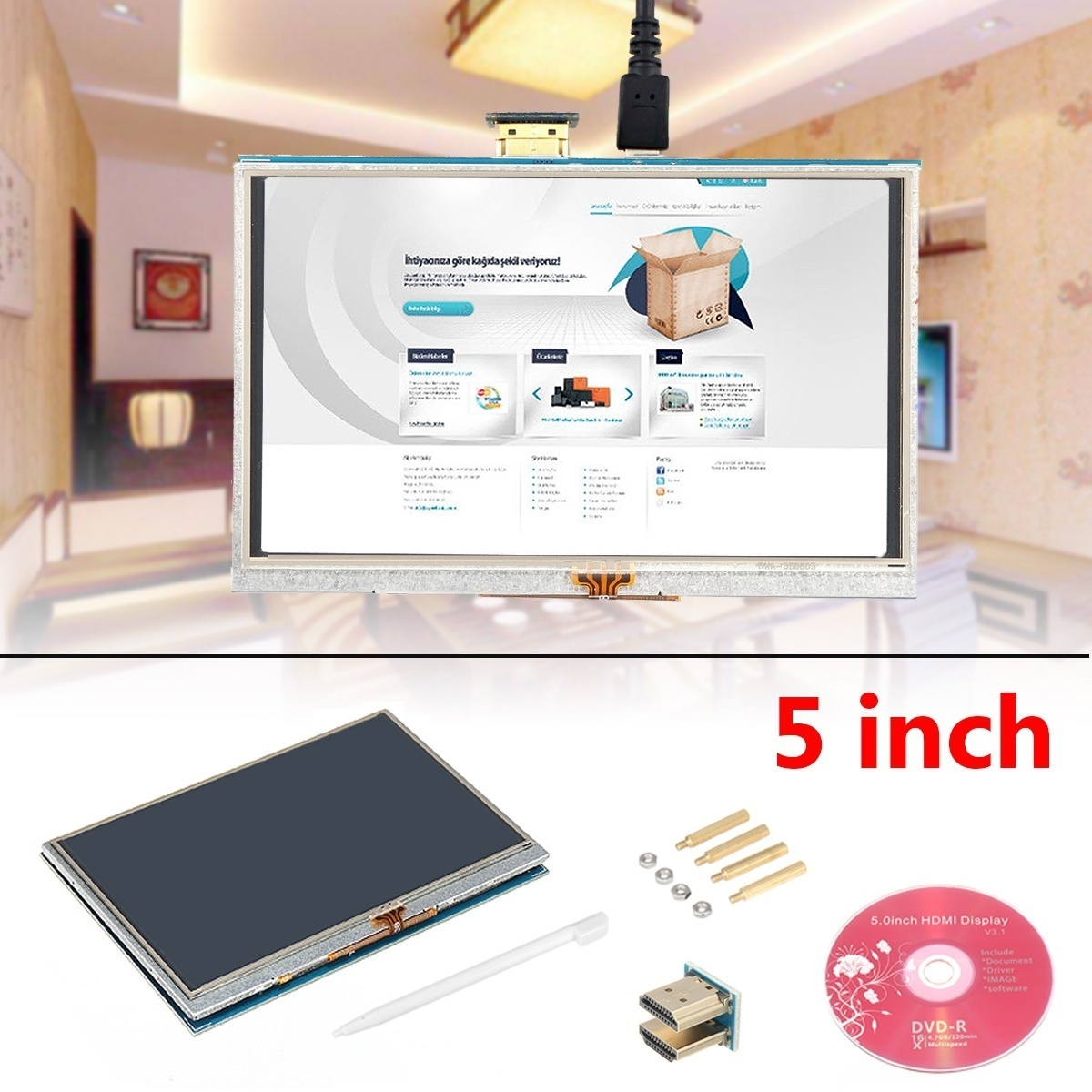 800X480 5 inch HDMI Touch Screen TFT LCD Display Module For Raspberry Pi 2  3 Model B