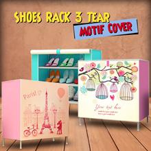 Rak Sepatu 3 Susun Cover Motif | Lemari Sepatu Kain
