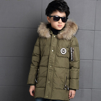 a71965ca9 wholesale Big Boys Winter Jackets True Fur Hooded Down Coats For Boys  Thicken Outerwear Warm Down Pa