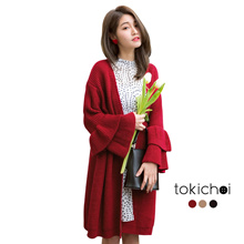 TOKICHOI - Frill Sleeve Knitted Coat-180245