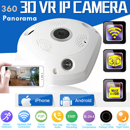 3D 360 Camera IP Fish Eye Panoramic 960P WIFI Video IP Micro SD Audio Remote Home Office Monitor
