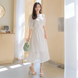 [Attrangs] op6853 화사한 무드와 맑은느낌을 선사해드리는 패턴 스카시 밴딩 원피스 dress