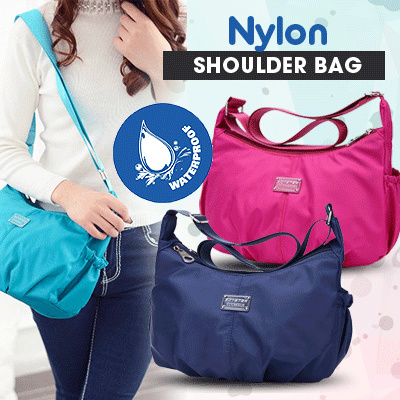 WATERPROOF NYLON SHOULDER BAG Deals for only Rp90.000 instead of Rp90.000