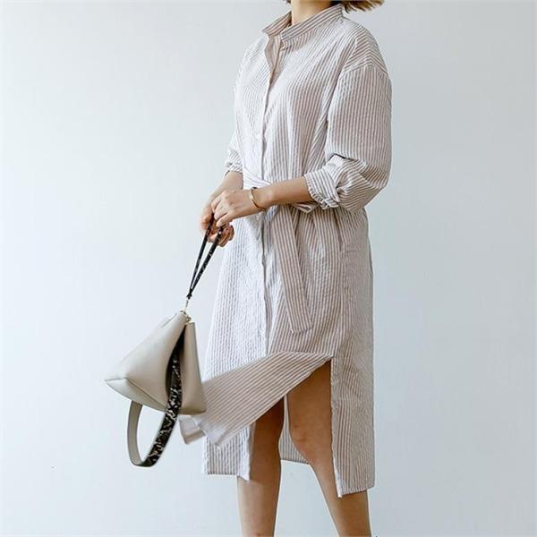 ディエイスクリームロングシャツコットン・ワンピースnew プリントワンピース/ワンピース/韓国ファッション