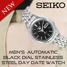 Seiko Men s SNKL23K1 Seiko 5 Automatic Black Dial Stainless Steel Day Date Watch