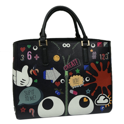 2PCS set New Cute Women Bag Character Graffiti Girls Handbags Flower Womens  Handbags Tote Shoulder