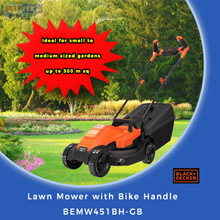 【Black and Decker】Lawn Mower with Bike Handle BEMW451BH-GB (80% Improved cutting n collection)