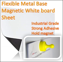 Metal Base Whiteboard Sheet/Magnetic White writing surface/Industrial Grade/Strong Adhesive