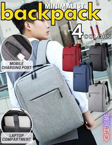 Unisex Backpack / Laptop Backpack / Laptop Bag / School Bag / Sling bag / Haversack Minimalist Style